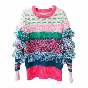 Cat & Jack Multicolor Colorful Fringe Sweater
